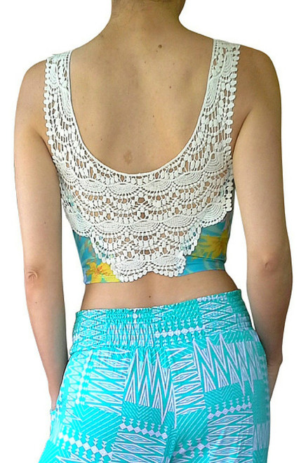 Crochet Back Sleeveless Top is Teal with Yellow & White Floral!