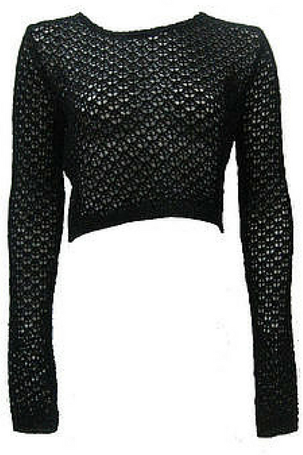 Fishnet Crochet Black Crop Sweater is 60% Cotton. Boutique Brand!