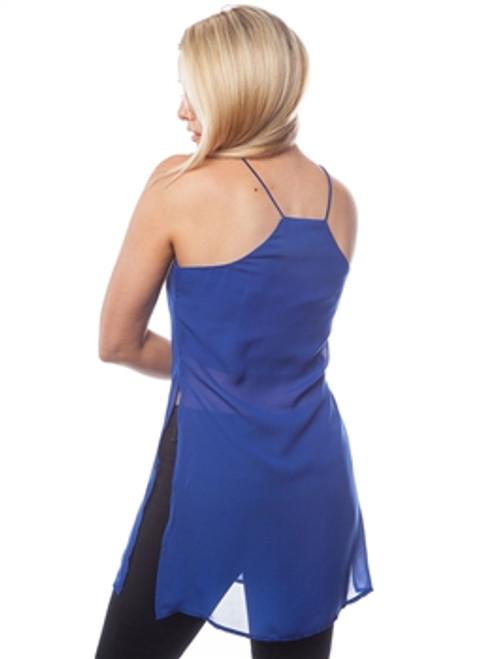 Halter Style Spaghetti Dress with High Cut! Blue.
