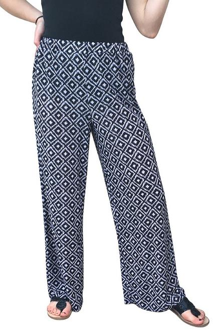 Wide Leg Palazzo / Gaucho Pants make a serious fashion statement! Black & White Diamond Geo.