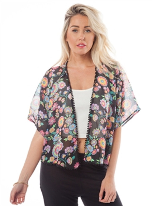 Black Kimono Sleeve Open Cardigan with Retro Floral Print and Pom Pom Trim!
