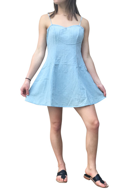 100% Cotton, Denim Dress with Spaghetti Straps! Well-Known Brand!