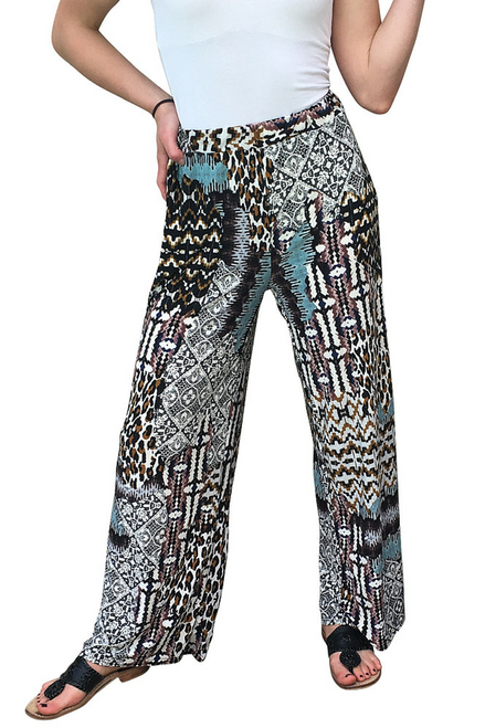 PALAZZO PANTS with Leopard / Geo / Tribal Print! Brown with Touches of Turquoise.