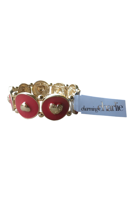 BRACELET IS GOLD & RED WITH HEARTS. $13 TAGS FROM CHARMING CHARLIE!