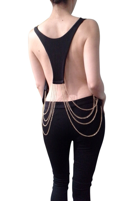 Black Rayon Clubwear Top with Chain Back!