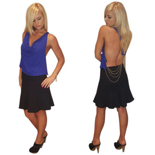 Blue Sleeveless Clubwear Top! Blue with Chain Back.