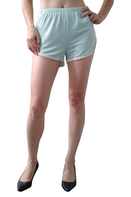 100% Rayon Challis Shorts with Mini Pom Poms! Mint. From Si Style!
