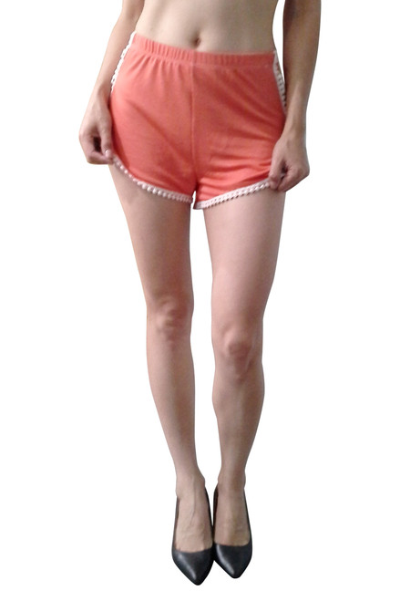 100% Rayon Challis Shorts with Mini Pom Poms! Coral. From Si Style!