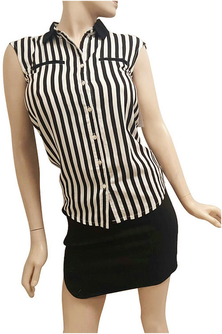 100% Cotton Sleeveless Top with Black & White Vertical Stripes and Faux Pockets!