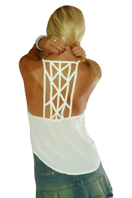 Crisp White Sleeveless Top with Braided Criss-Cross Spaghetti Back!