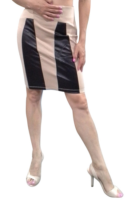 Cotton Bodycon Skirt with Vegan Leather Panels! Nude.