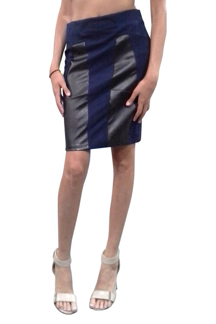 85% Cotton! Navy Blue Bodycon Pencil Skirt with Faux Black Leather Panels!