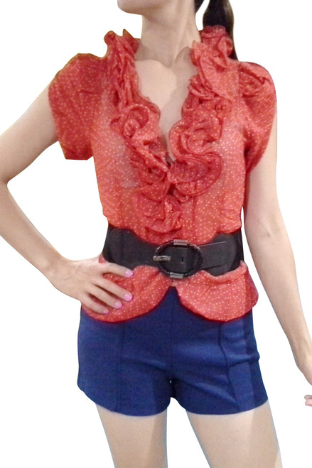 65% Cotton. Lightweight Red One-Button Top comes with the Belt!
