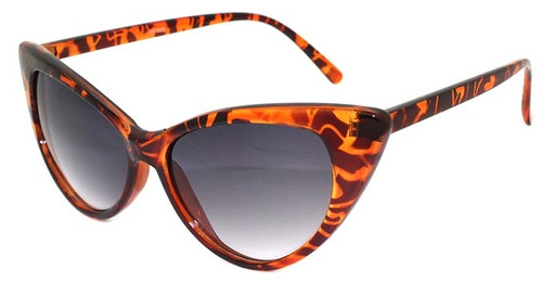 HIGH QUALITY UV400 PROTECTION SUNGLASSES. VINTAGE CAT EYE FRAME SHADES. BROWN TORTOISE SHELL PATTERN.