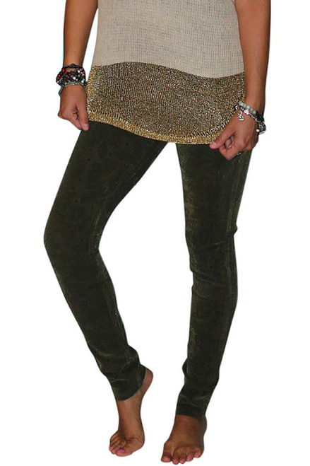 Tri-Blend Rayon Jeans! Olive Green with Subtle Tattoo Paisley Pattern!