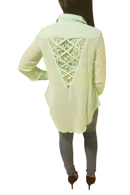 Long Sleeve Sheer Lace Back Blouse With Criss Cross. Mint