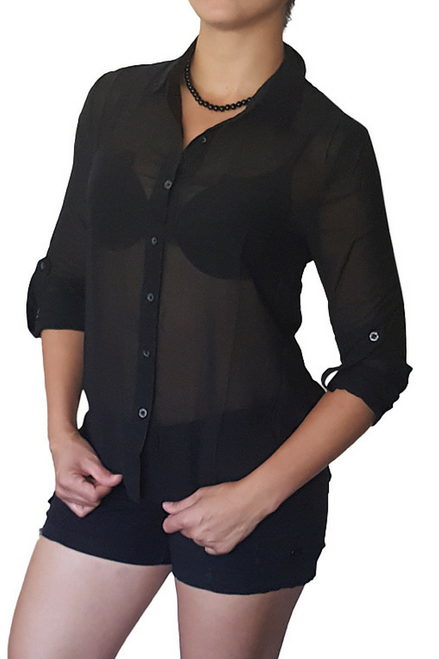 Sheer Button Down Blouse With Cuffs And Lace Accents On Collar. Black.