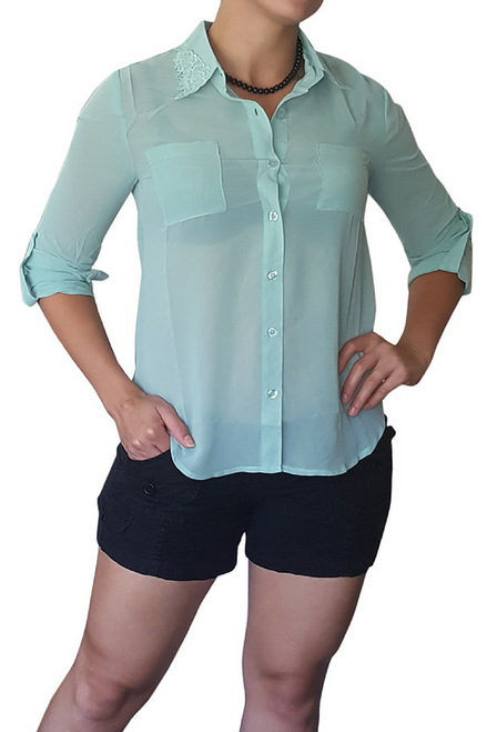 Sheer Button Down Blouse With Cuffs And Lace Accents On Collar. Mint.