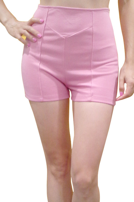 Blush Pink Hi Waist Stretch Shorts are 92% Cotton and 8% Spandex!
