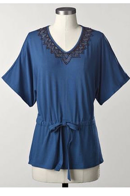 PLUS SIZE BEADED TUNIC FROM COLDWATER CREEK! 95% RAYON. BLUE.