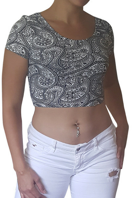 Crop Top Bustier is 10% Spandex! Black & White Paisley Print.