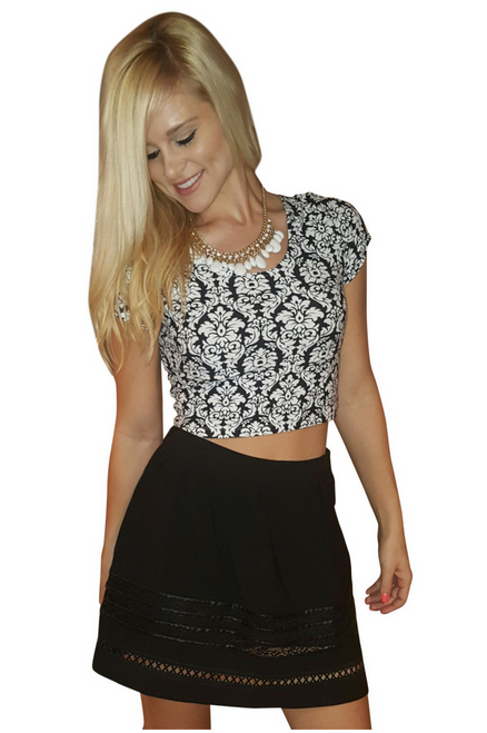 Crop Top Bustier is 10% Spandex! Black & White Floral Paisley.