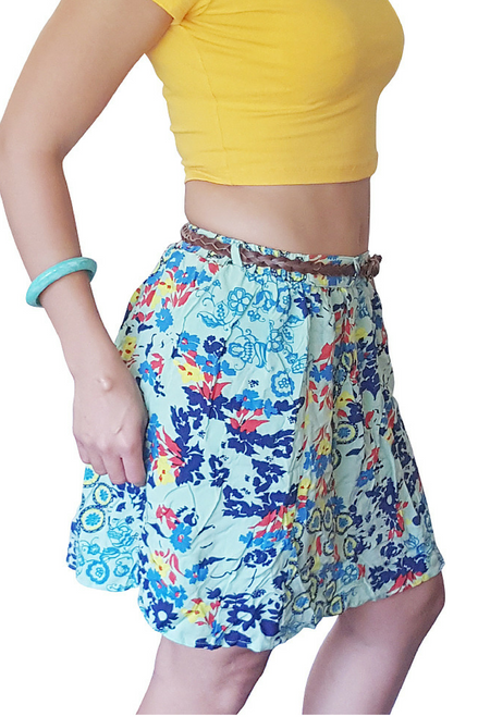 100% Rayon Skirt Is Adorable Mint Green With Floral Pattern And Braided Leather Belt!