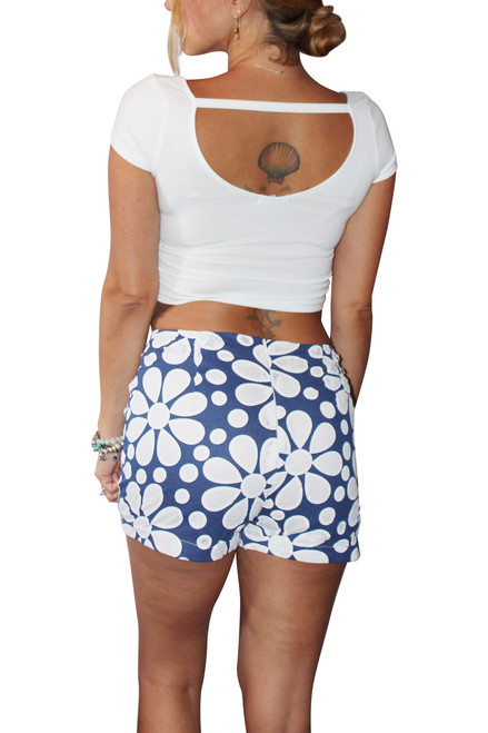 Hi Waisted Stretch Shorts are Blue & White Oversized Retro Floral!