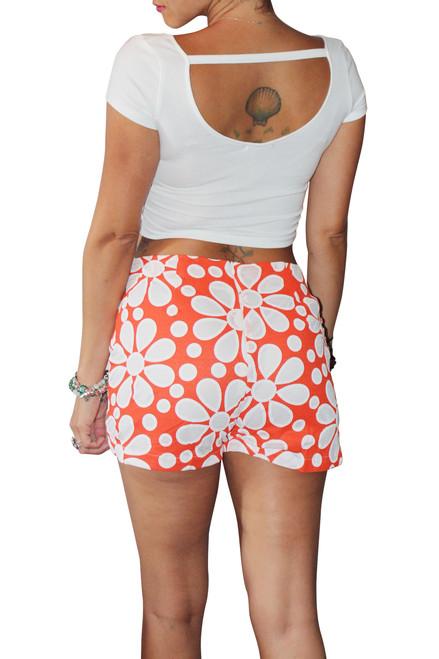 Hi Waisted Stretch Shorts are Orange & White Oversized Retro Floral!