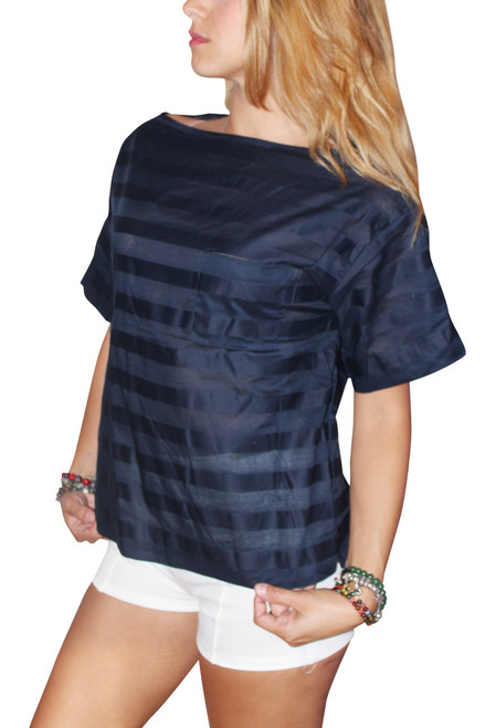 100% Cotton Boxy Blouse With Subtle Navy On Navy Stripes!