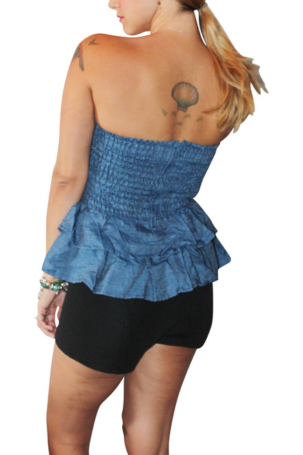 100% Cotton Strapless Bustier Denim Tube Top with Peplum!