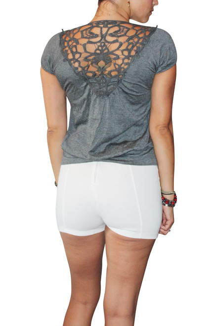 Light & Cool Boho Chic Top with Amazing Crochet Back! Charcoal Grey.