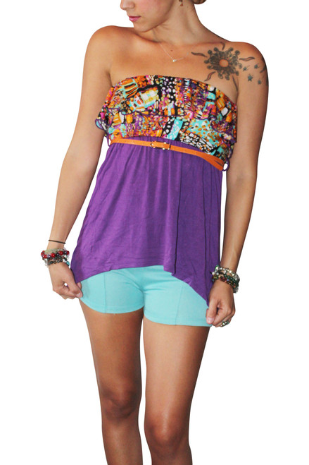 Strapless Belted Top With Ruffle Is Purple And Orange! 95% Rayon.