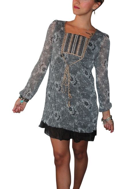 Long Sleeve Boho-Chic Peasant Dress with Lace Peplum and Fabric Belt! Blue.
