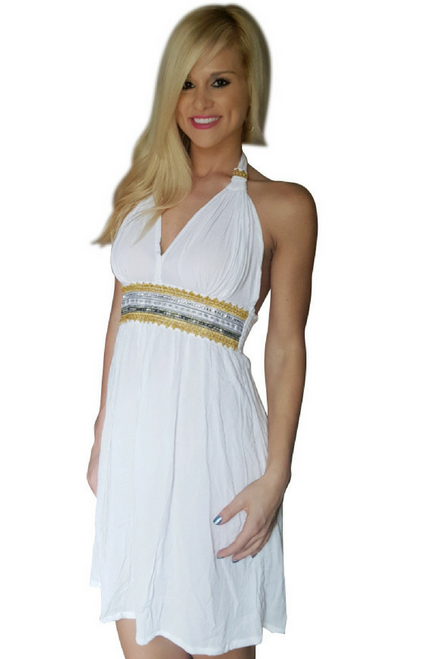 White Halter Skater Dress with Gold Embroidery! One-Size Fits Most.