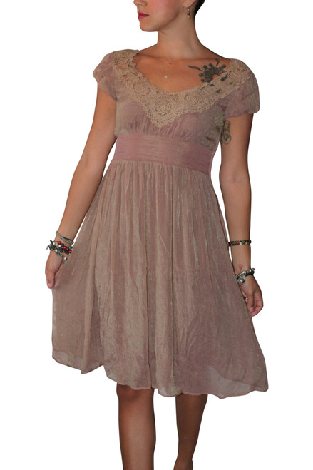 Vintage Crochet Dress Screams Boho-Chic! Mauve.