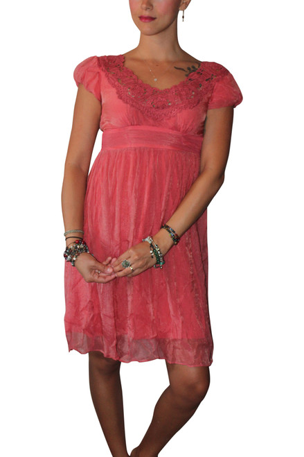 Vintage Crochet Dress Screams Boho-Chic! Distressed Coral Red.