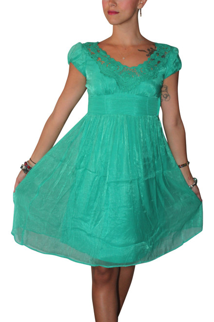 Vintage Crochet Dress Screams Boho-Chic! Mint Green.
