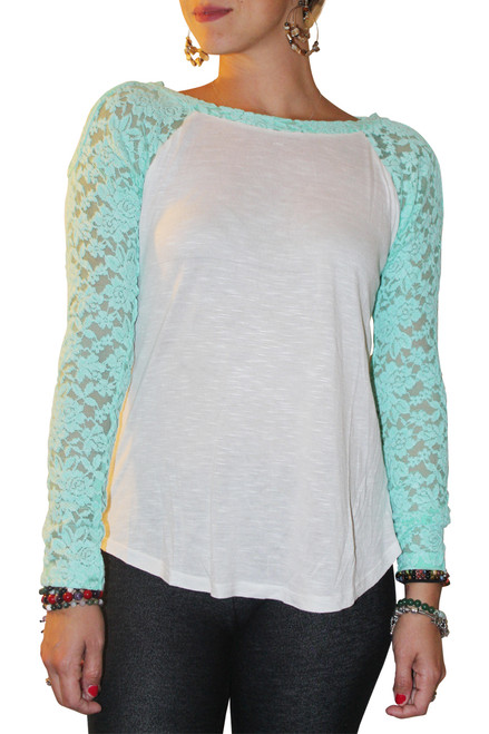 100% RAYON TOP WITH MINT LACE SLEEVES AND CUTOUT SHOULDERS!