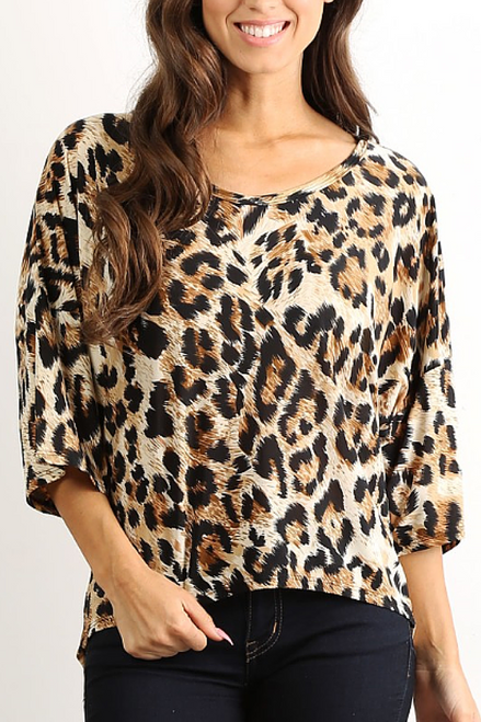 Tunic Top with Half Boho-Chic Sleeves! Brown Leopard Print.