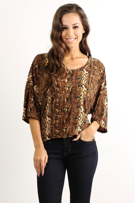 Tunic Top with Half Boho-Chic Sleeves! Brown Snakeskin Print.