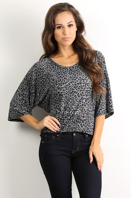 Tunic Top with Half Boho-Chic Sleeves! Grey Cheetah Print.