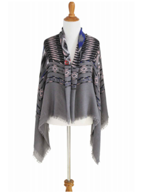 BOUTIQUE BLANKET SCARF CAN BE WORN AS A PONCHO OR CARDIGAN! GREY TRIBAL/AZTEC.