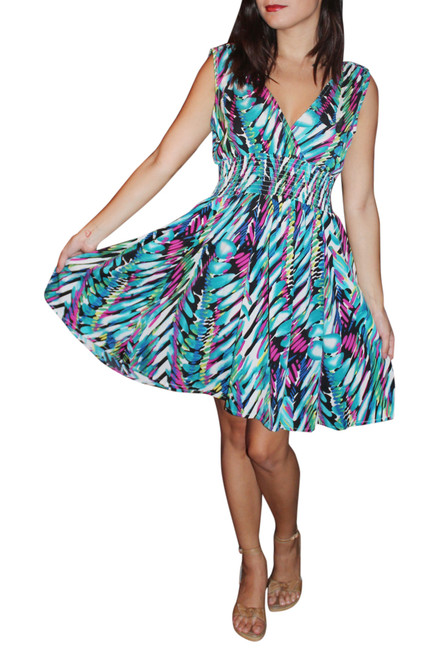 100% Rayon V-Neck Dress with Banded Middle! Blue.