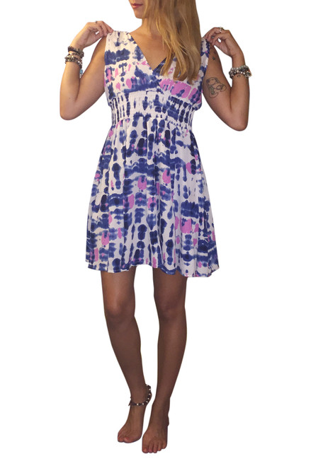 100% Rayon V-Neck Dress with Banded Middle! Blue Tie Dye.