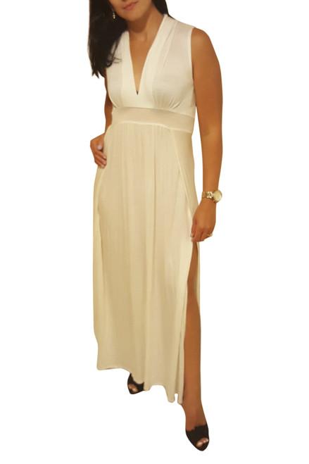 Sleeveless, V-Neck Maxi Dress! Ivory White.