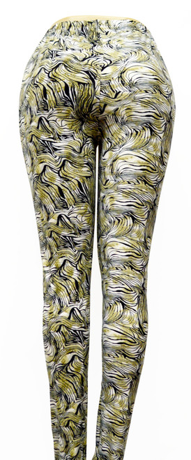 Ankle Length Leggings are 8% Spandex! Black & Tan Abstract Pattern.