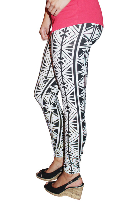 8% Spandex Leggings in Black & White Tribal.