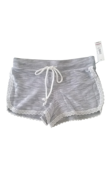 51% Cotton French Terry Shorts With Lace Trim. Heather Grey.