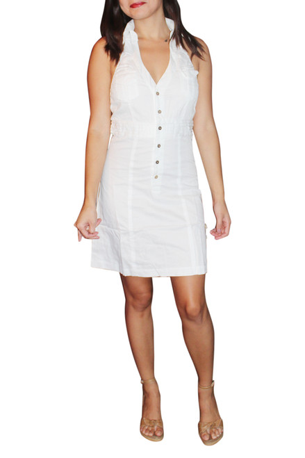 100% Cotton Halter Top Dress With Button Front And Stretch Back. White.